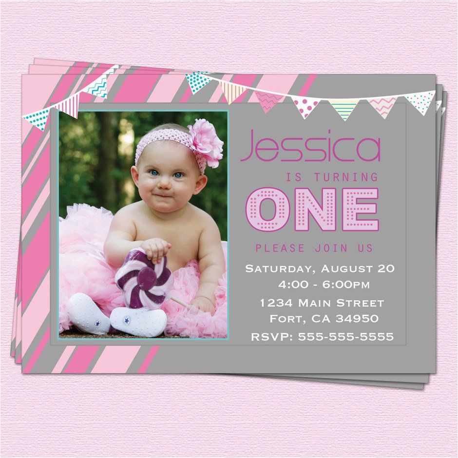 Baby Girl First Birthday Party Invitations Invitation Messages For Best