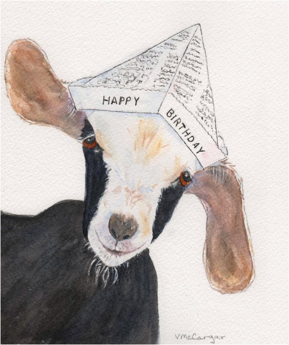 birthday goat card watercolor print card