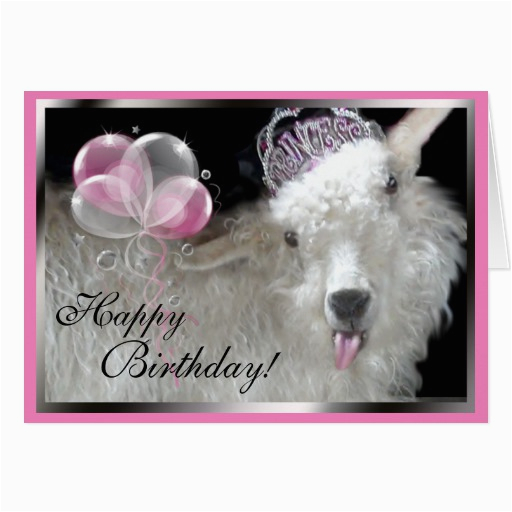 goat princess happy birthday card 137721977874555879