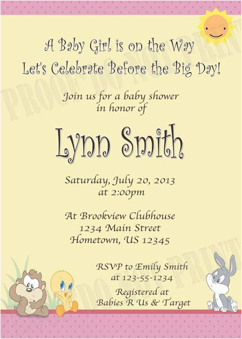 baby looney tunes birthday invitations