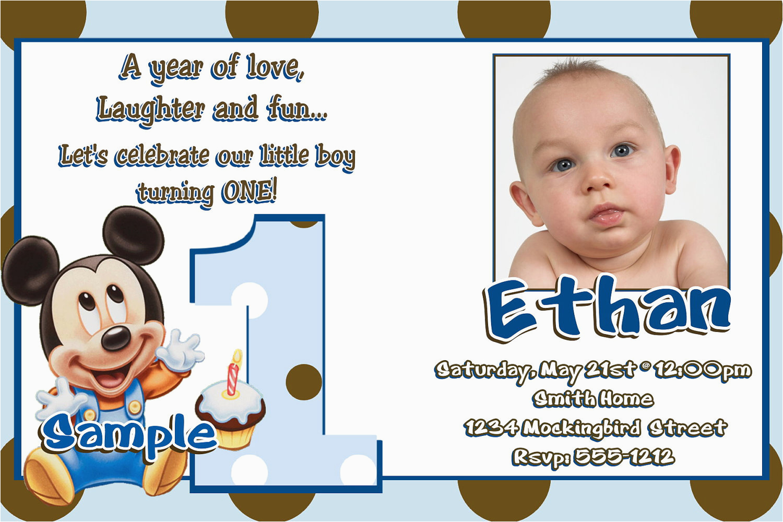 Baby Mickey First Birthday Invitations Jb25 Baby Mickey Mouse 1st