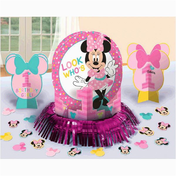 Baby Minnie 1st Birthday Decorations Mouse Party Table Decoration Kit