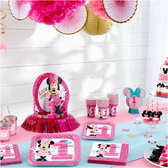 minnie mouses first birthday partyware