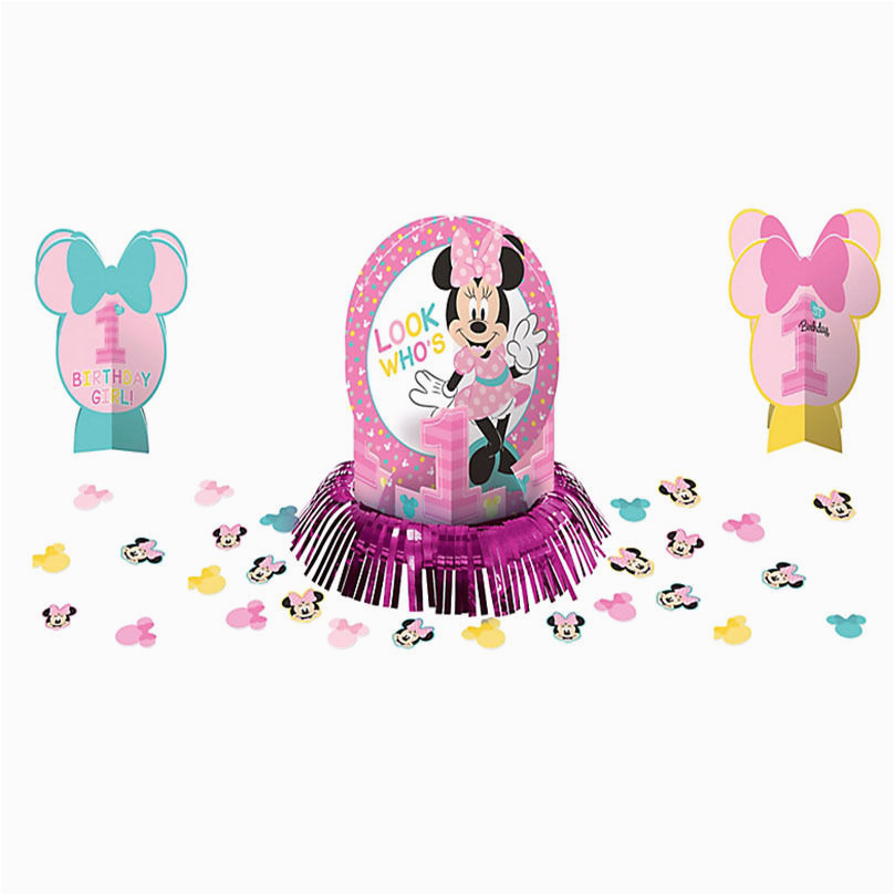 Baby Minnie Mouse 1st Birthday Decorations Party Table Decoration Kit