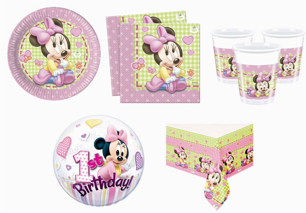 Baby Minnie Mouse 1st Birthday Decorations Party Supplies Girl
