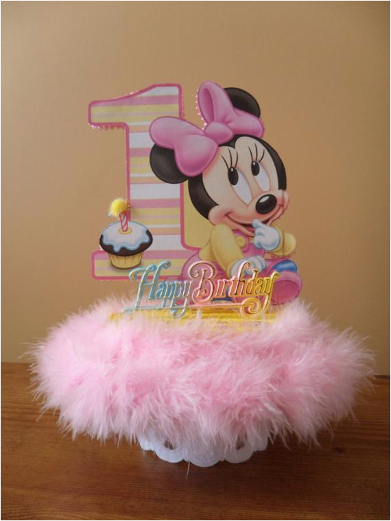 Baby Minnie Mouse 1st Birthday Decorations Cake Topper First Party Table