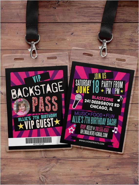 birthday invitation rock star vip pass