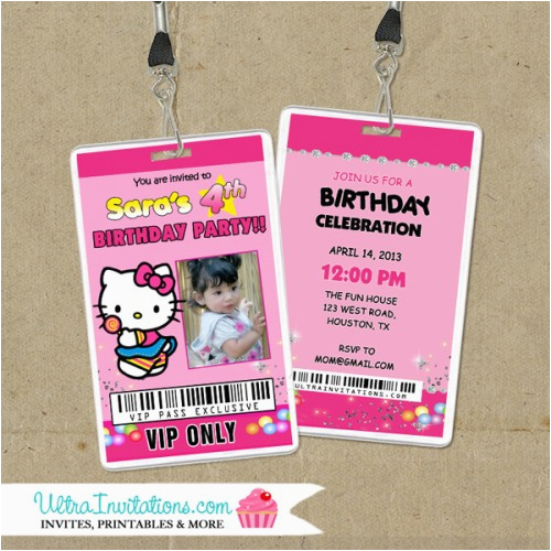 hello kitty birthday backstage invitations