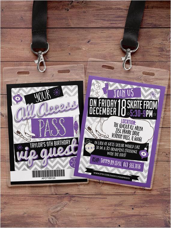 Backstage Pass Birthday Invitations Ice Skating Invitation Birthday Vip Pass Backstage