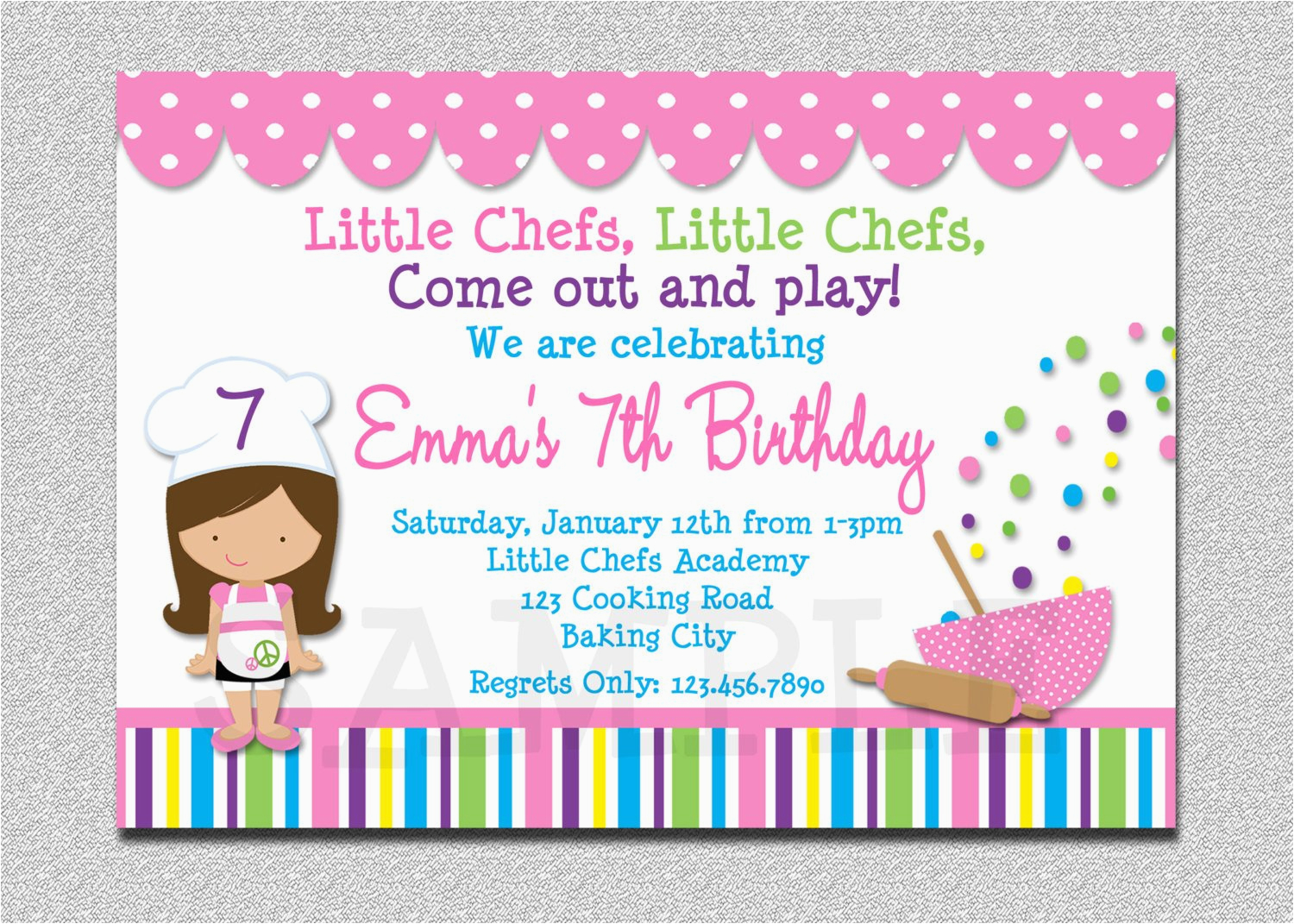 cooking birthday party invitation
