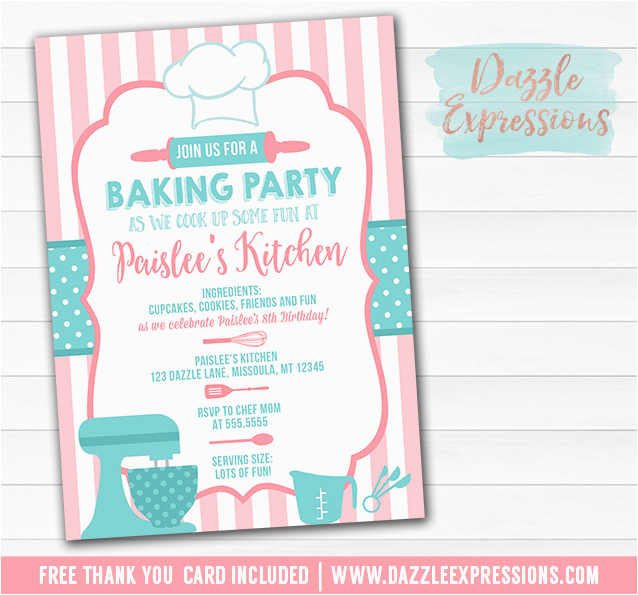 baking party invitation 1 free thank you card included
