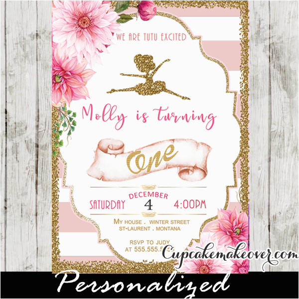ballerina invitations pink stripes floral gold ballet birthday party