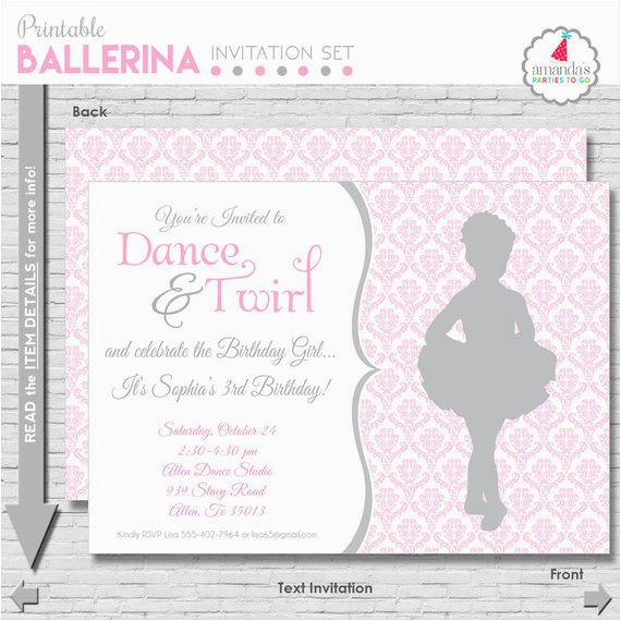 Ballerina Birthday Invites Ballet Birthday Invitation Ballerina Party Invitation