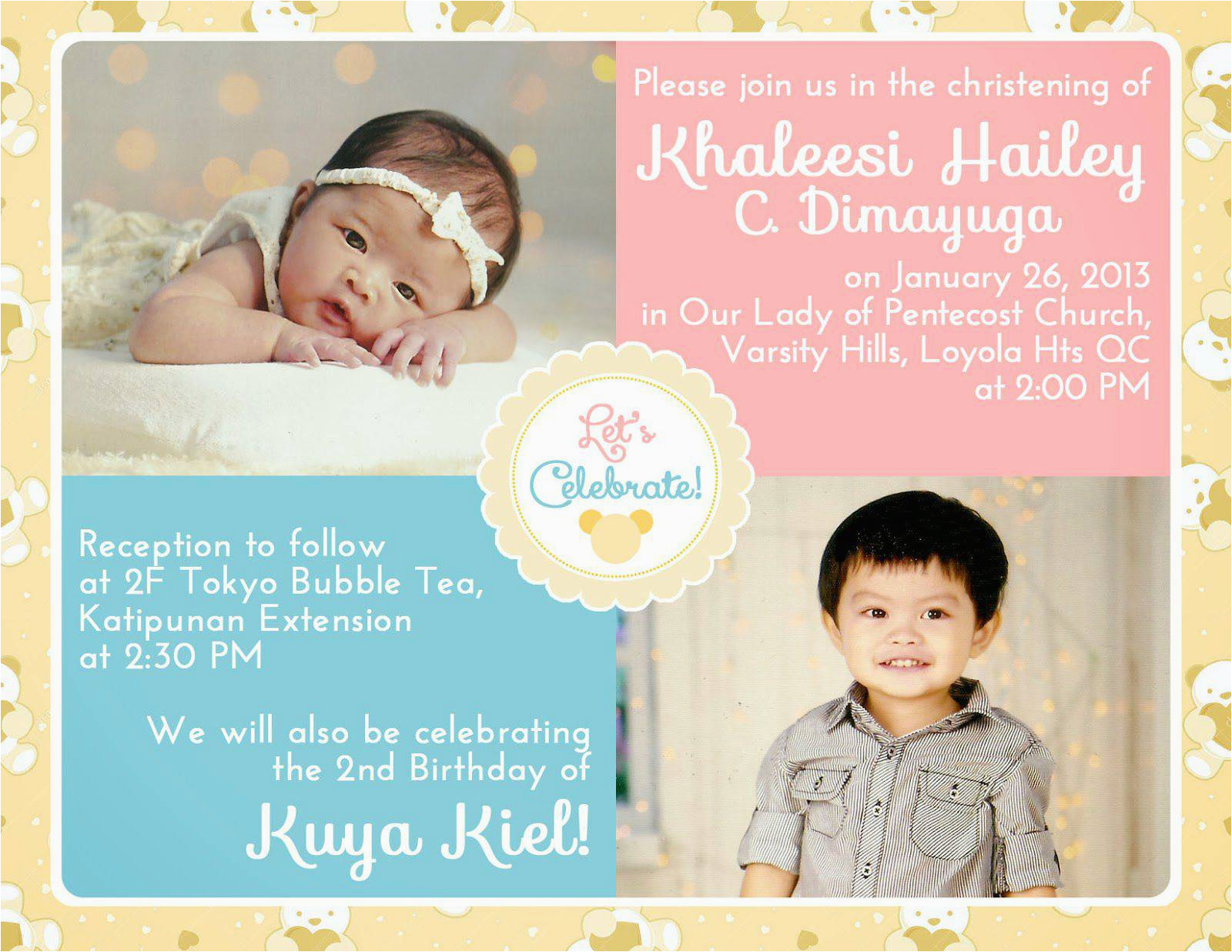 first birthday baptism invitations