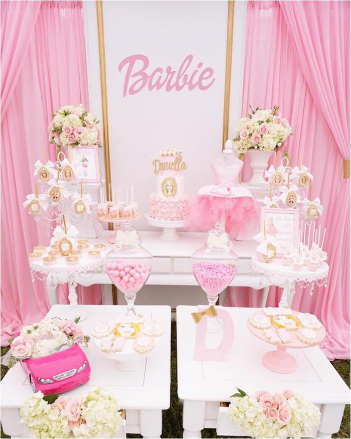 Barbie Birthday Decorations Ideas Kara 39 S Party Ideas Pink Glam Barbie Birthday Party Kara