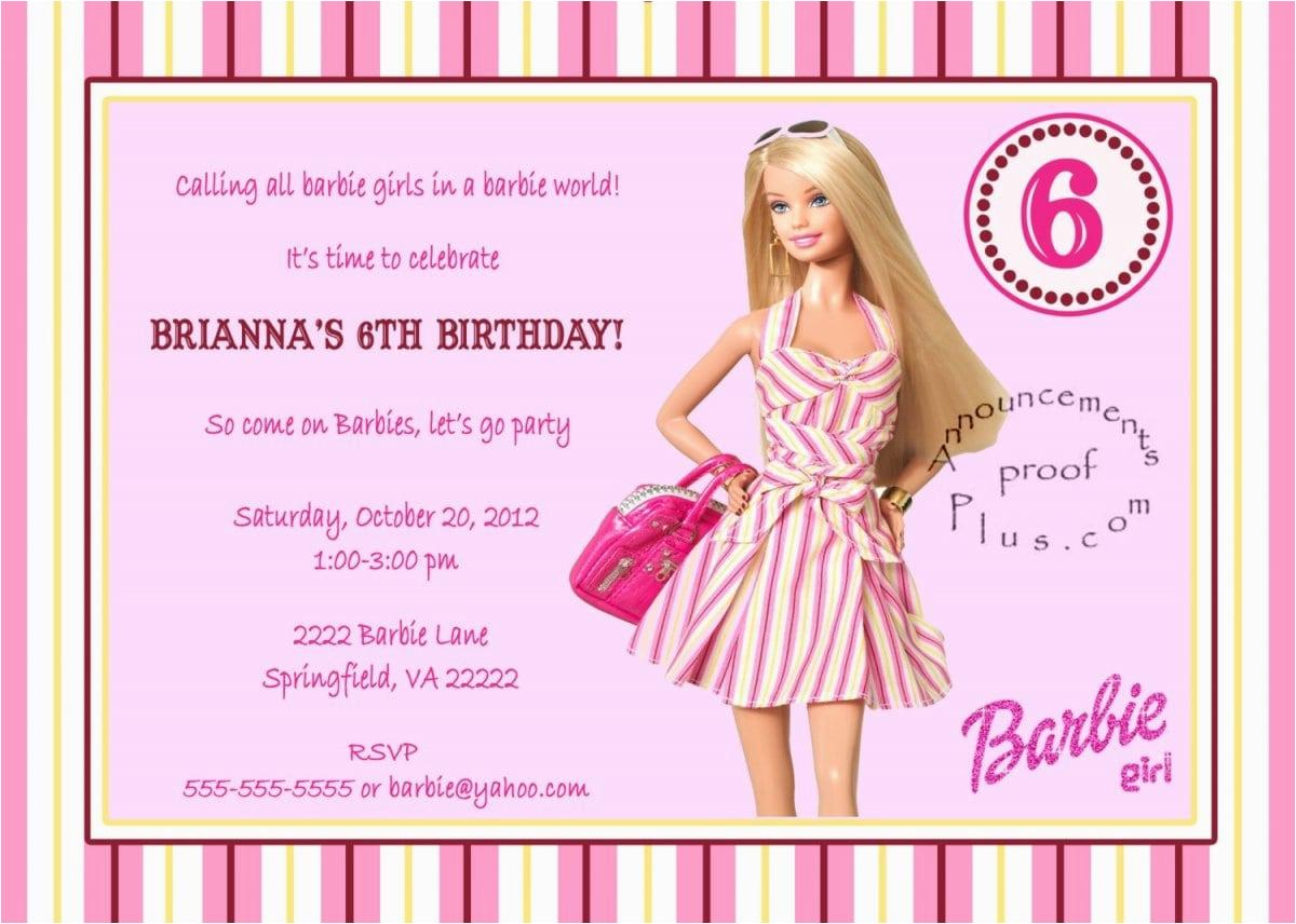Birthday Invitation Barbie Template