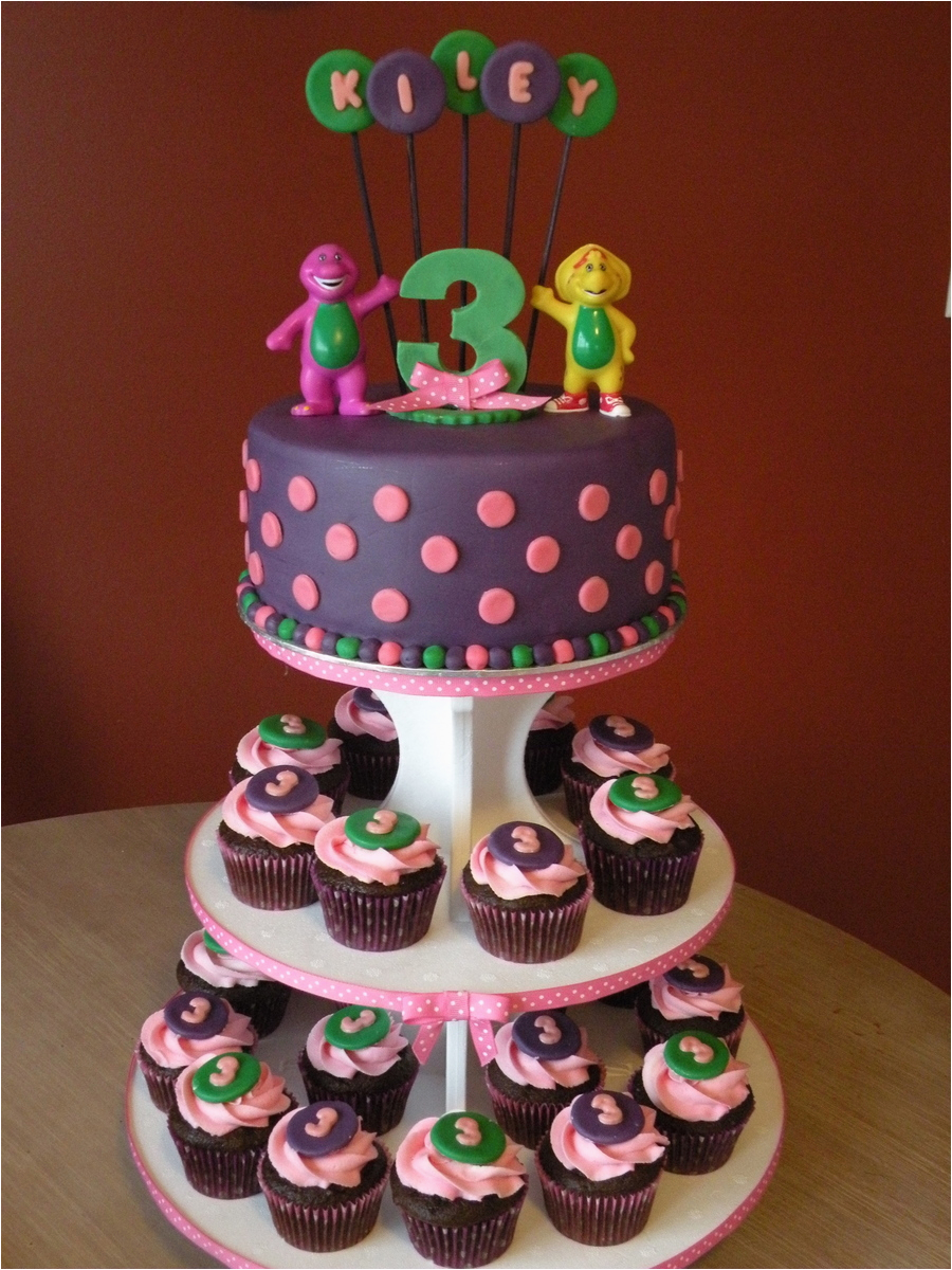 barney birthday cake amp cupcakes