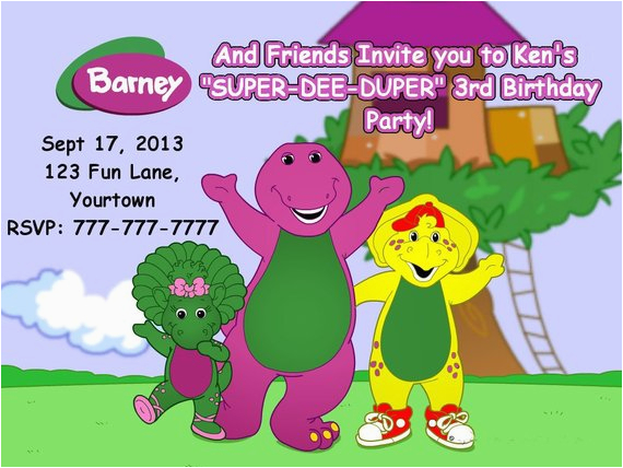 barney and friends birthday invitation