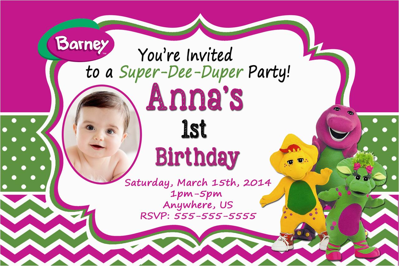 barney birthday invitation templates