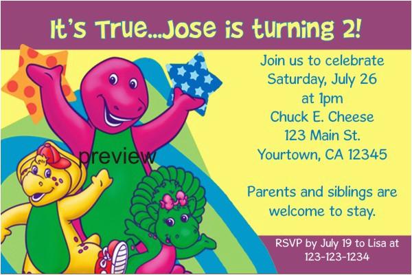 barney birthday invitations
