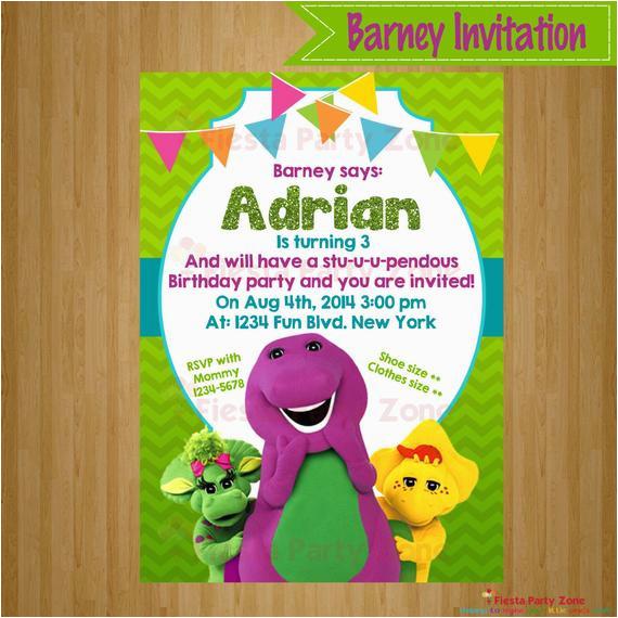 barney barney invitation barney party