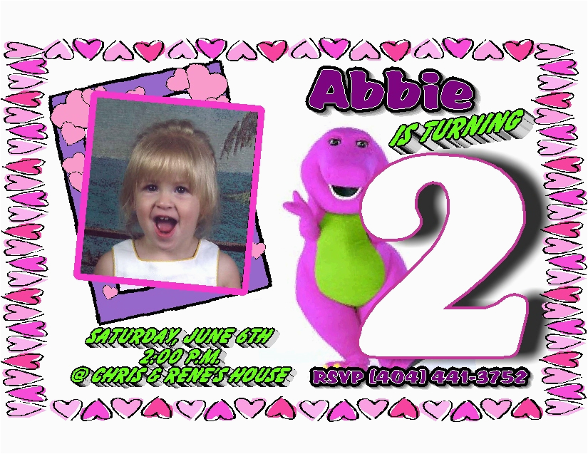 Barney Personalized Birthday Invitations Template Best Collection
