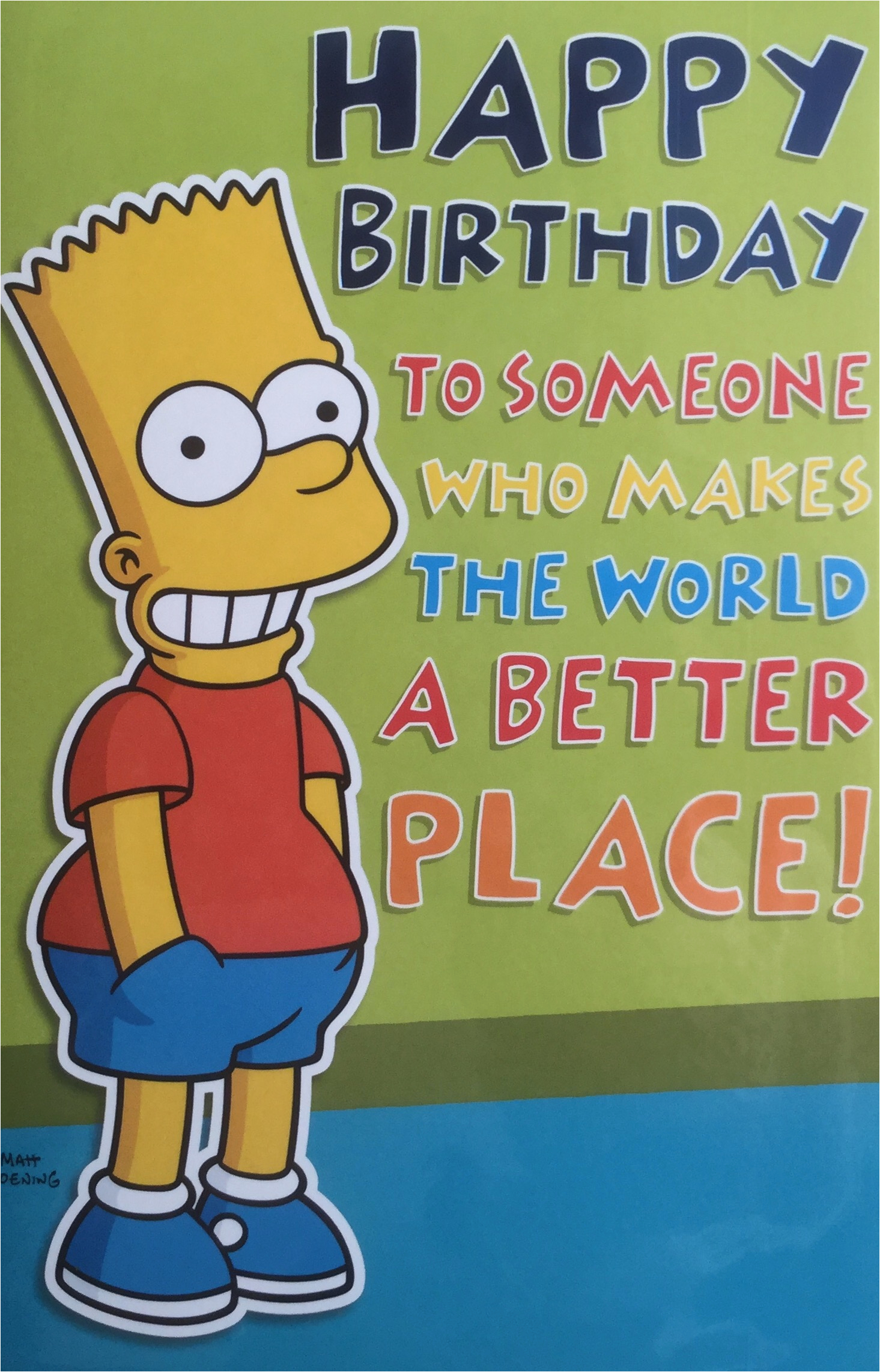Bart Simpson Birthday Card Paul 39 S Party Zone Bart Simpson Happy Birthday Greeting Card