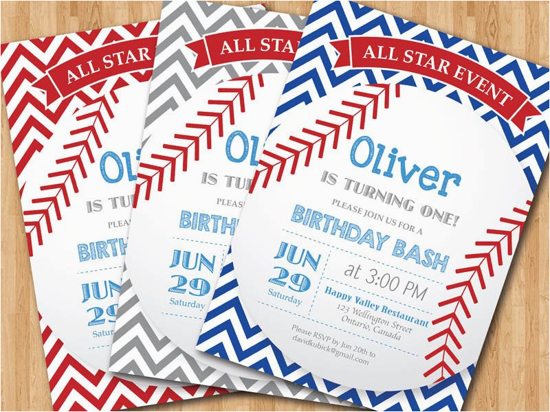 baseball birthday invitation first