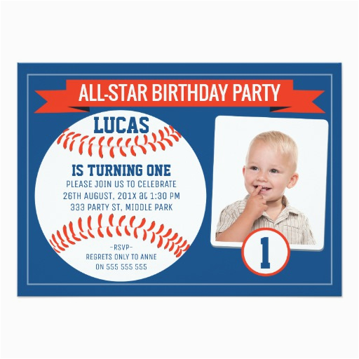 boys baseball sports 1st birthday party invitation 256025790691241461