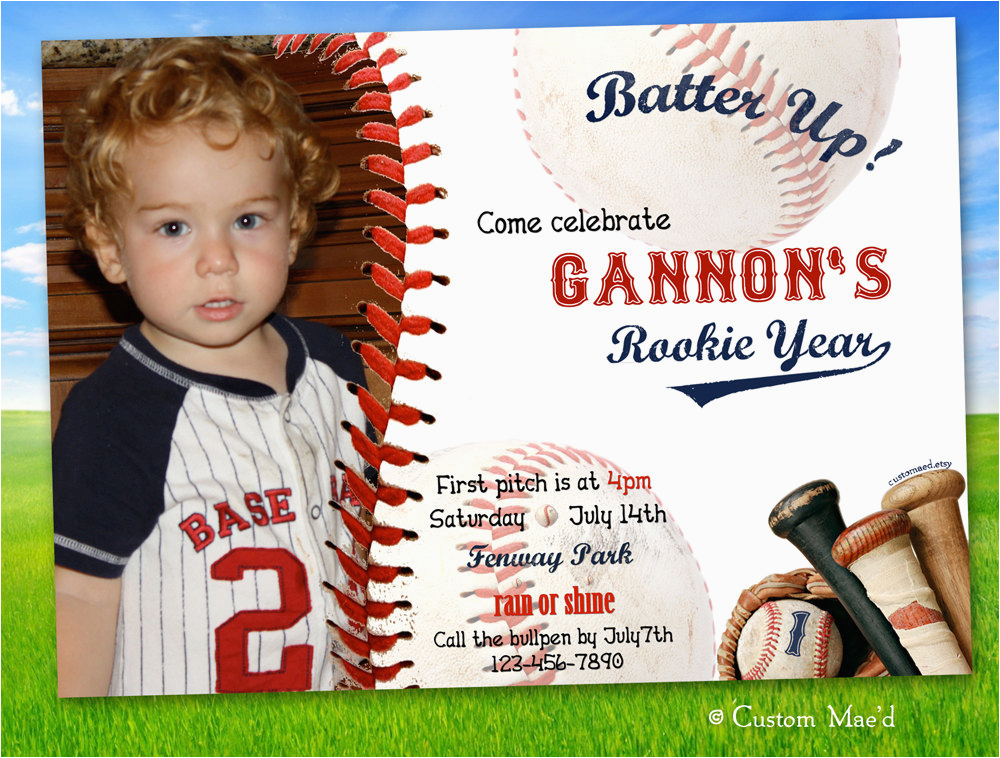 baseball first birthday invitations