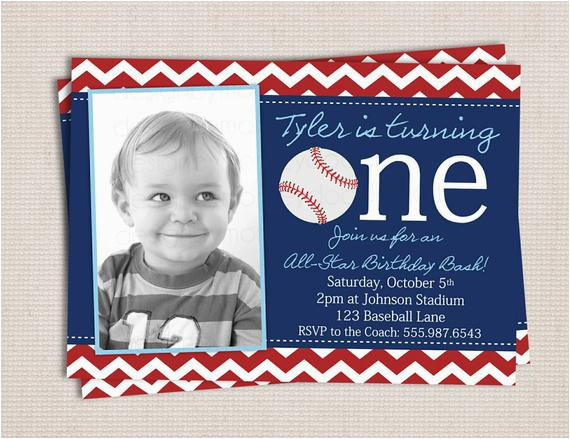 Baseball 1st Birthday Invitations Items Similar to First Birthday Baseball Party Printable