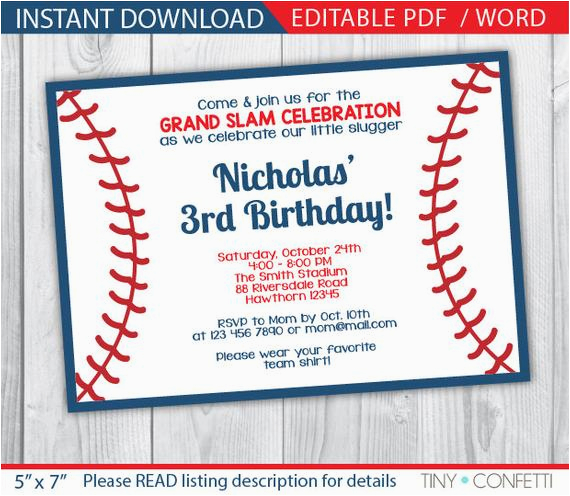 baseball invitation baseball party