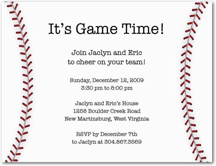baseball party invitation wording