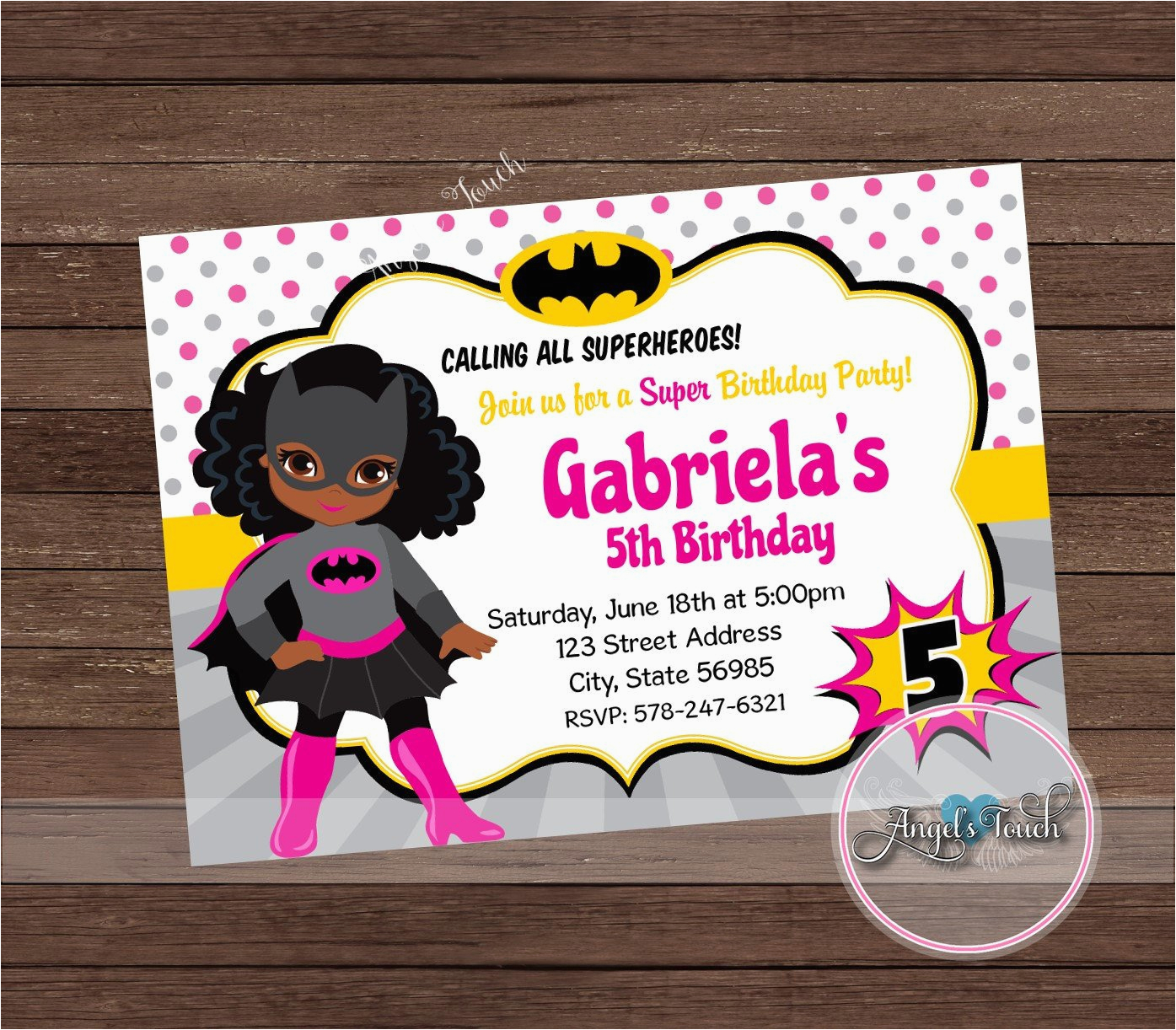 bat girl party invitation african