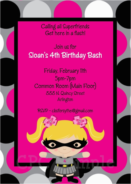 batgirl superhero birthday invitations p 1298