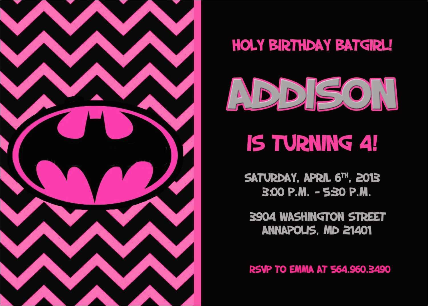 batman batgirl birthday party invitation
