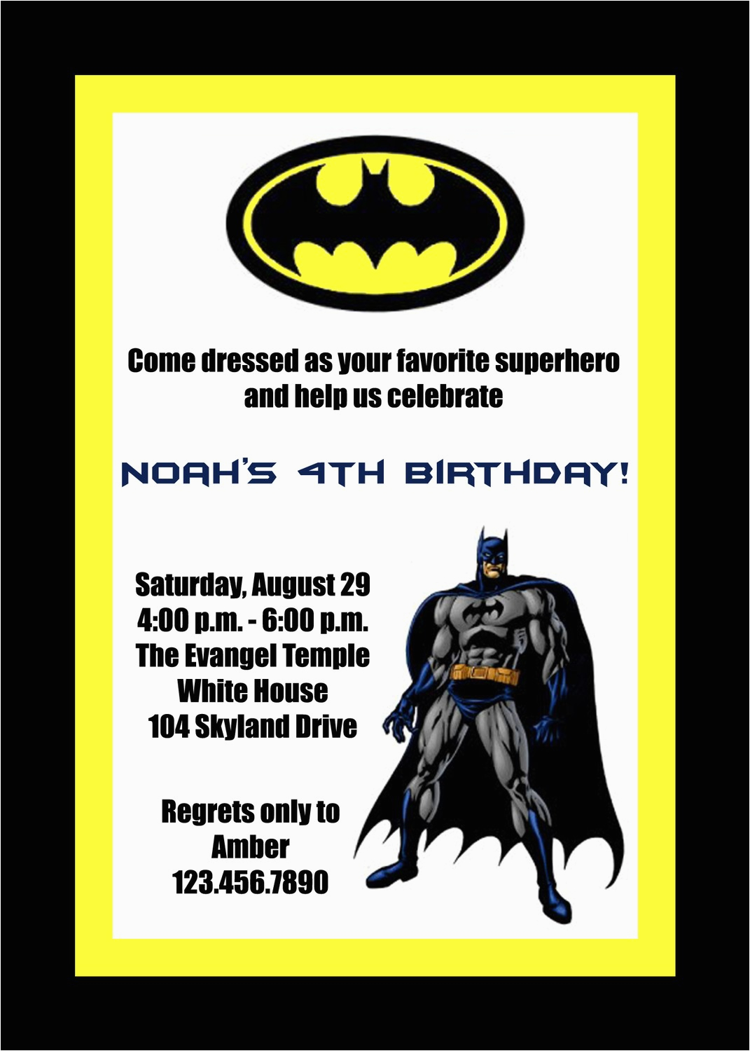 Batman Birthday Invitation Template Invitations