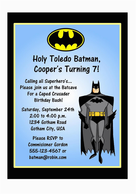 Batman Birthday Invitation Template Party Invitations Super Heroes