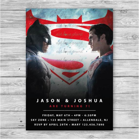 batman v superman invitation batman vs
