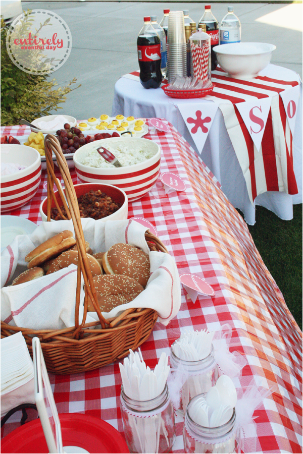 red and white retro barbecue party ideas