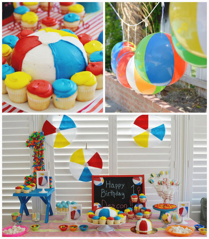 beach ball themed 1st birthday party