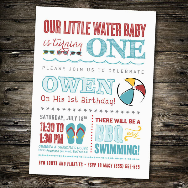 first birthday party invitation pool