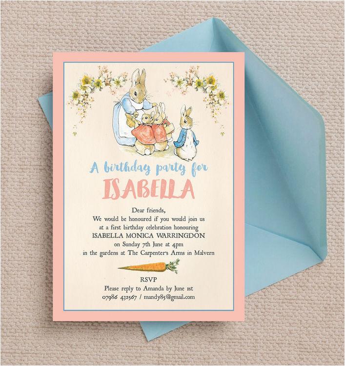 flopsy bunnies beatrix potter birthday party invitation