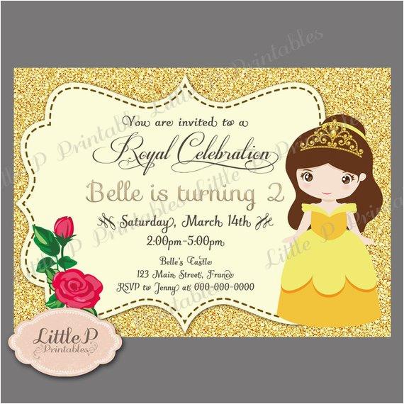 princess belle birthday party printable invitations