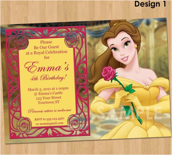 princess belle invitation beauty and the