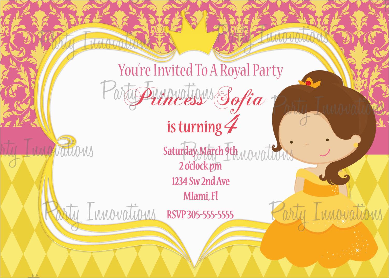 printable princess belle birthday party