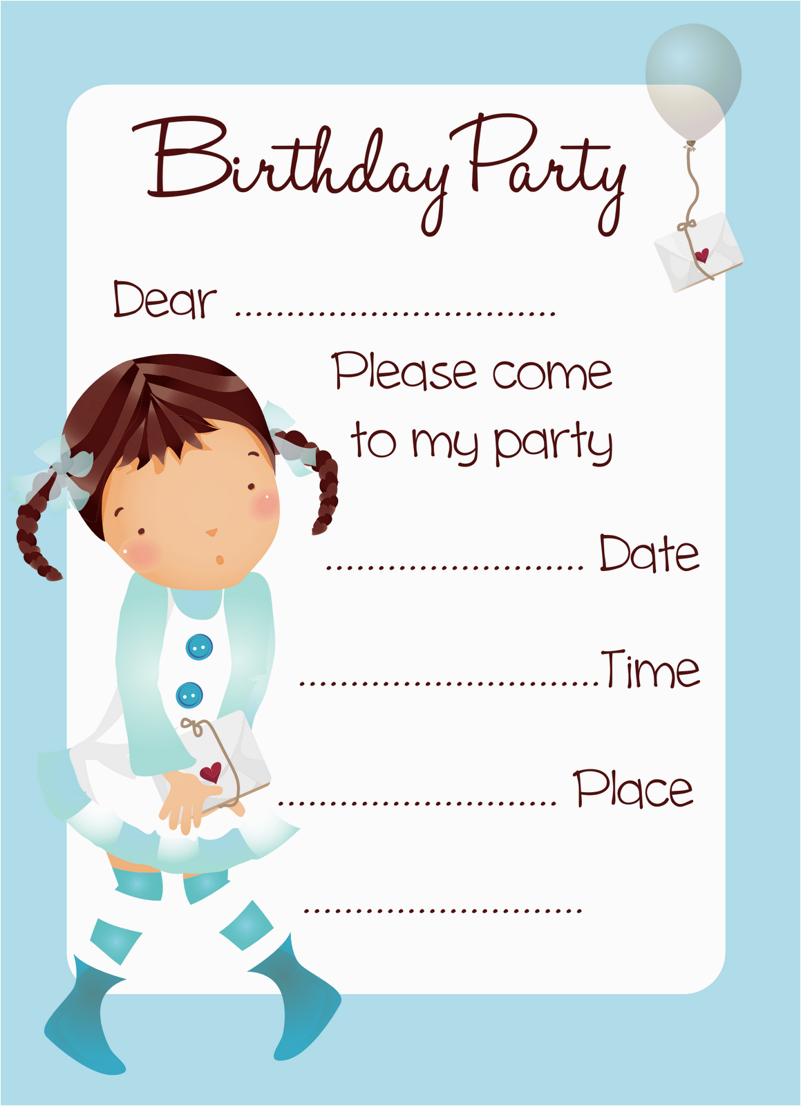birthday party invitation cards free printable