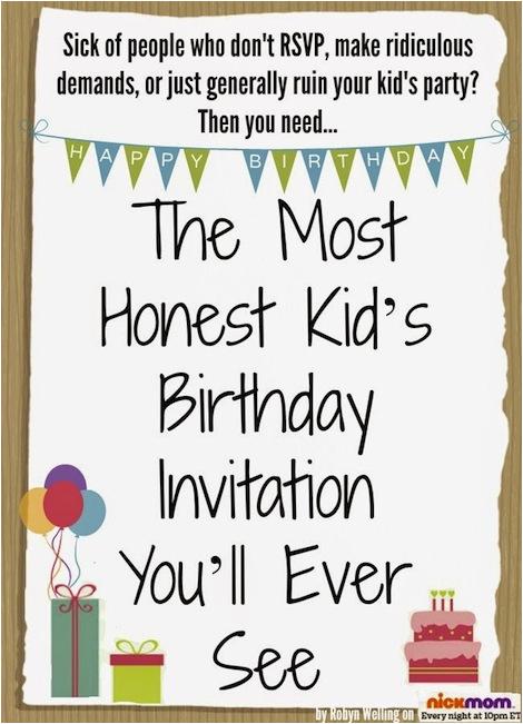 honest kids birthday invitation youll ever see