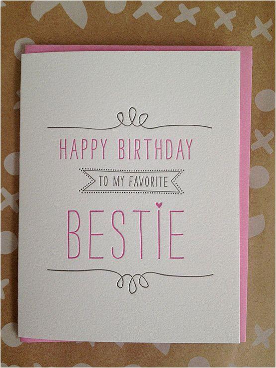bestie card best friend letterpress birthday card