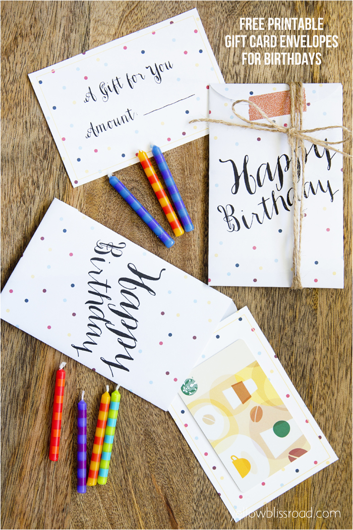 free printable gift card envelopes for birthdays